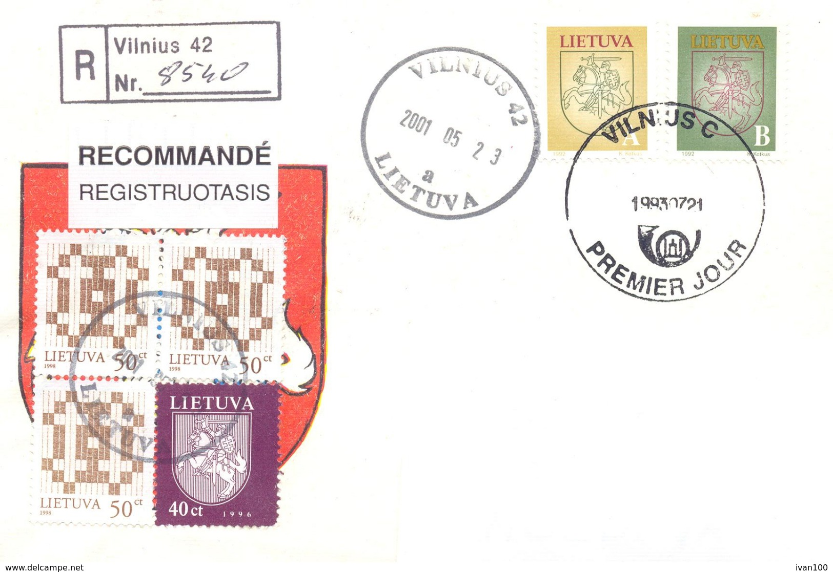 2001. Lithuania, The Letter Sent By Registered Post To Moldova - Lithuania