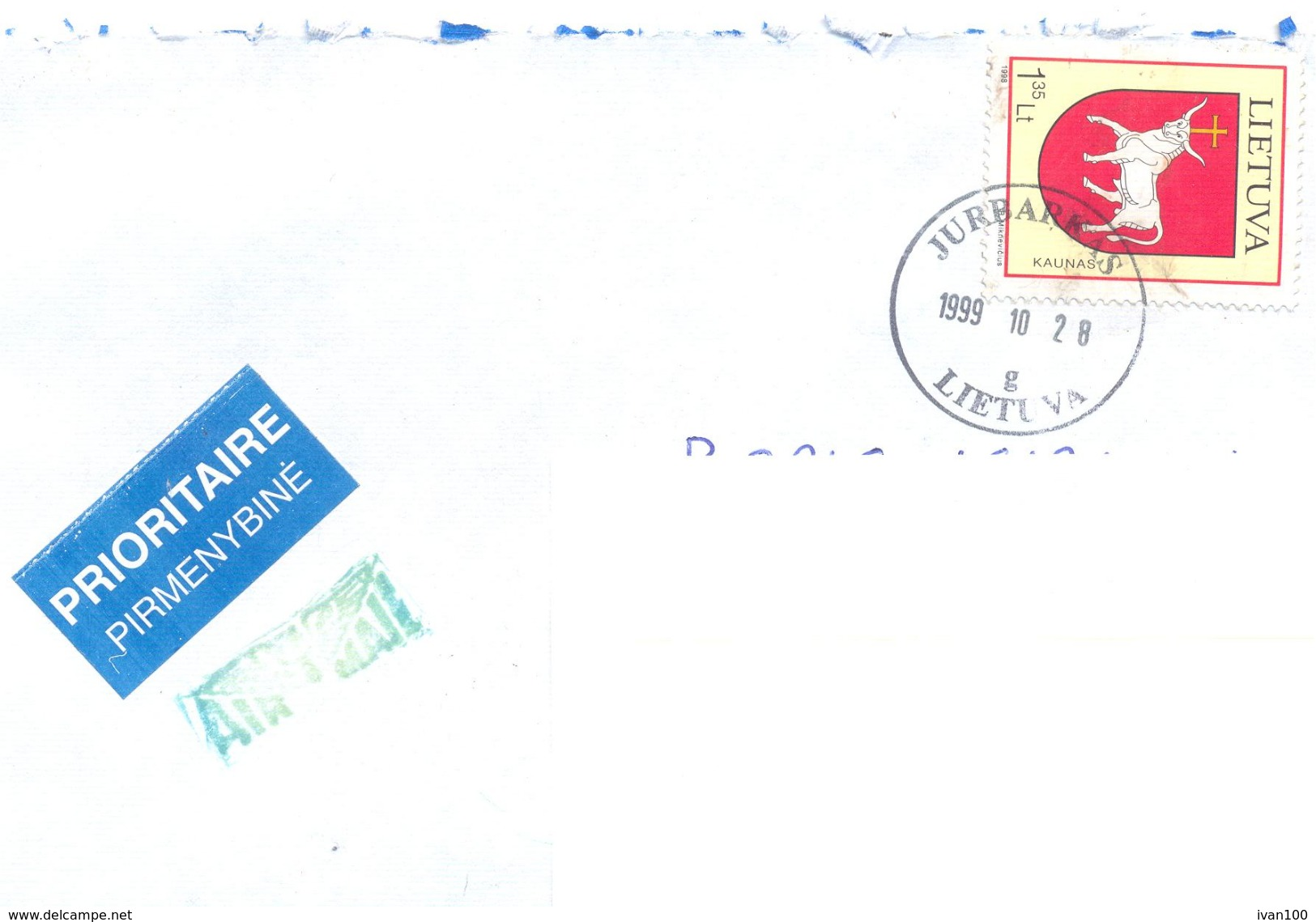 1999. Lithuania, The Letter Sent By Ordinary Post To Moldova - Lithuania