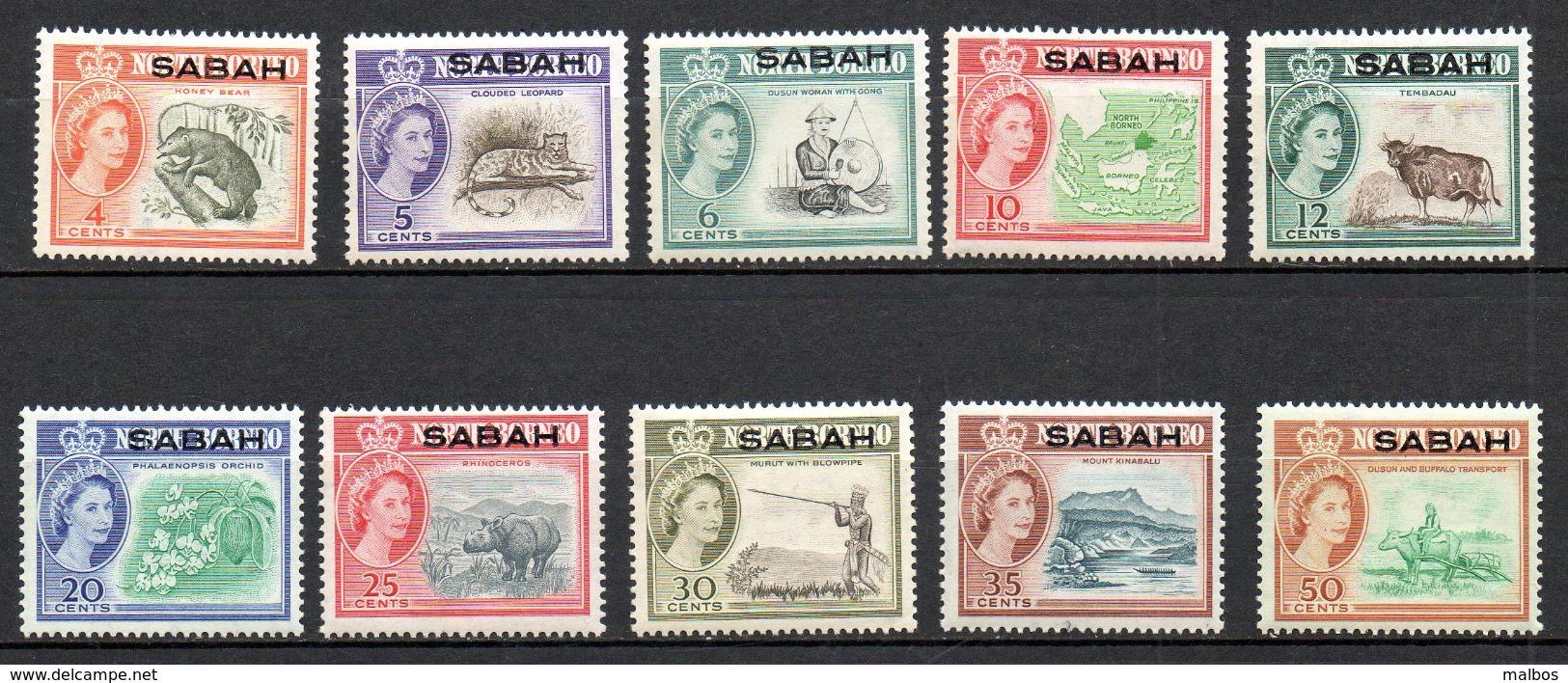 MALAYSIA - SABAH   1964 (**)  S&G # 409 To 418 - Sabah