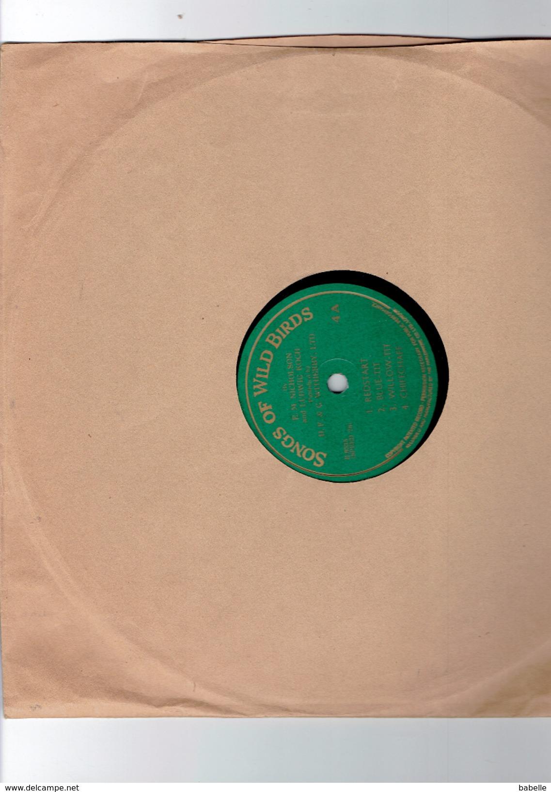 "Disque "" SONGS OF WILD BIRDS "" Redstart, Blue Tit, ...... - 78 G - Dischi Per Fonografi"