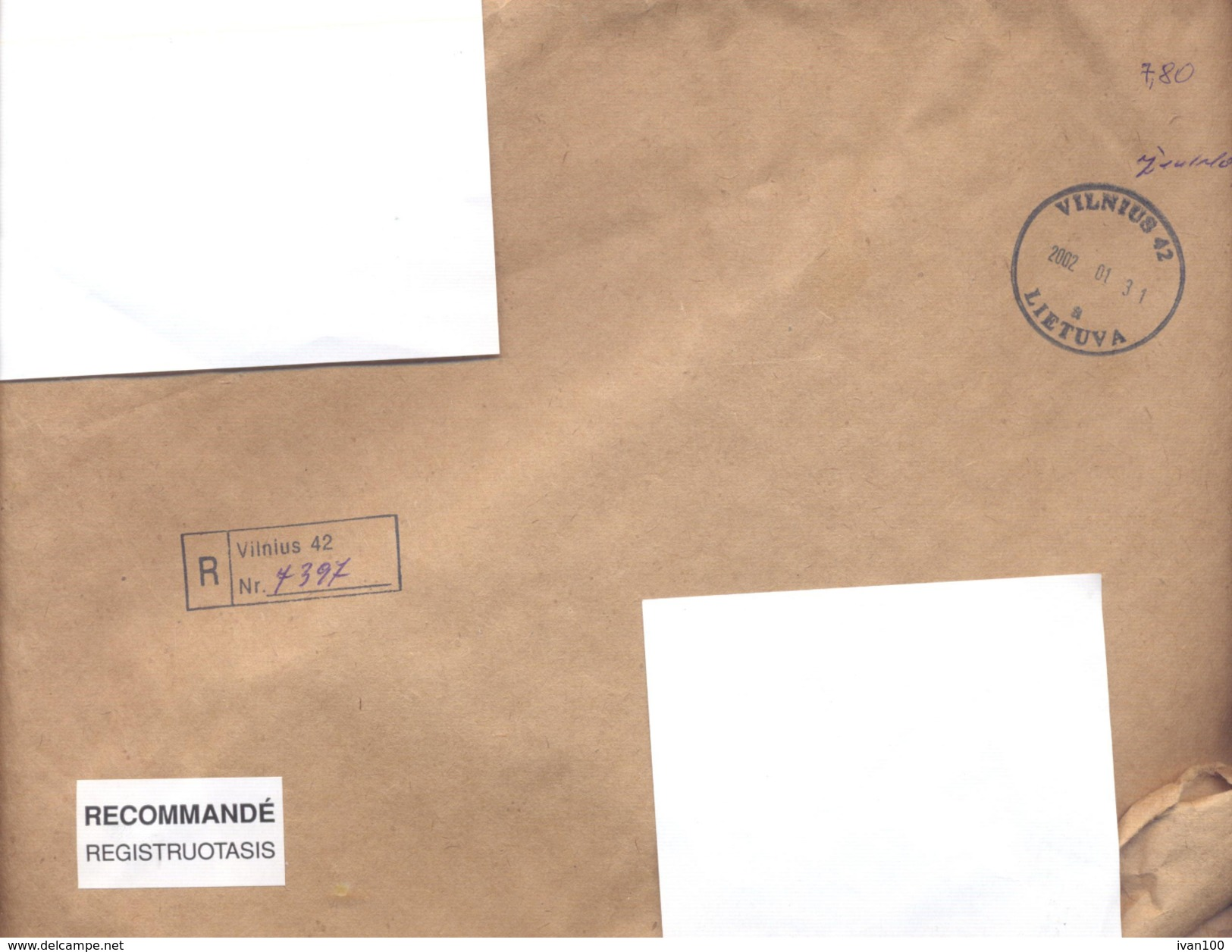 2002. Lithuania, The Letter Sent By Registered Post To Moldova - Lithuania