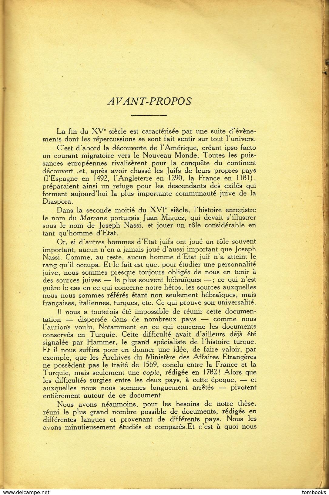Le Duc Joseph De Naxos - Livre - Contribution à L'Histoire Juive Du XVI E Siècle - Jacob Reznik ( J . Ha - Rosin ) 1936 - Religion
