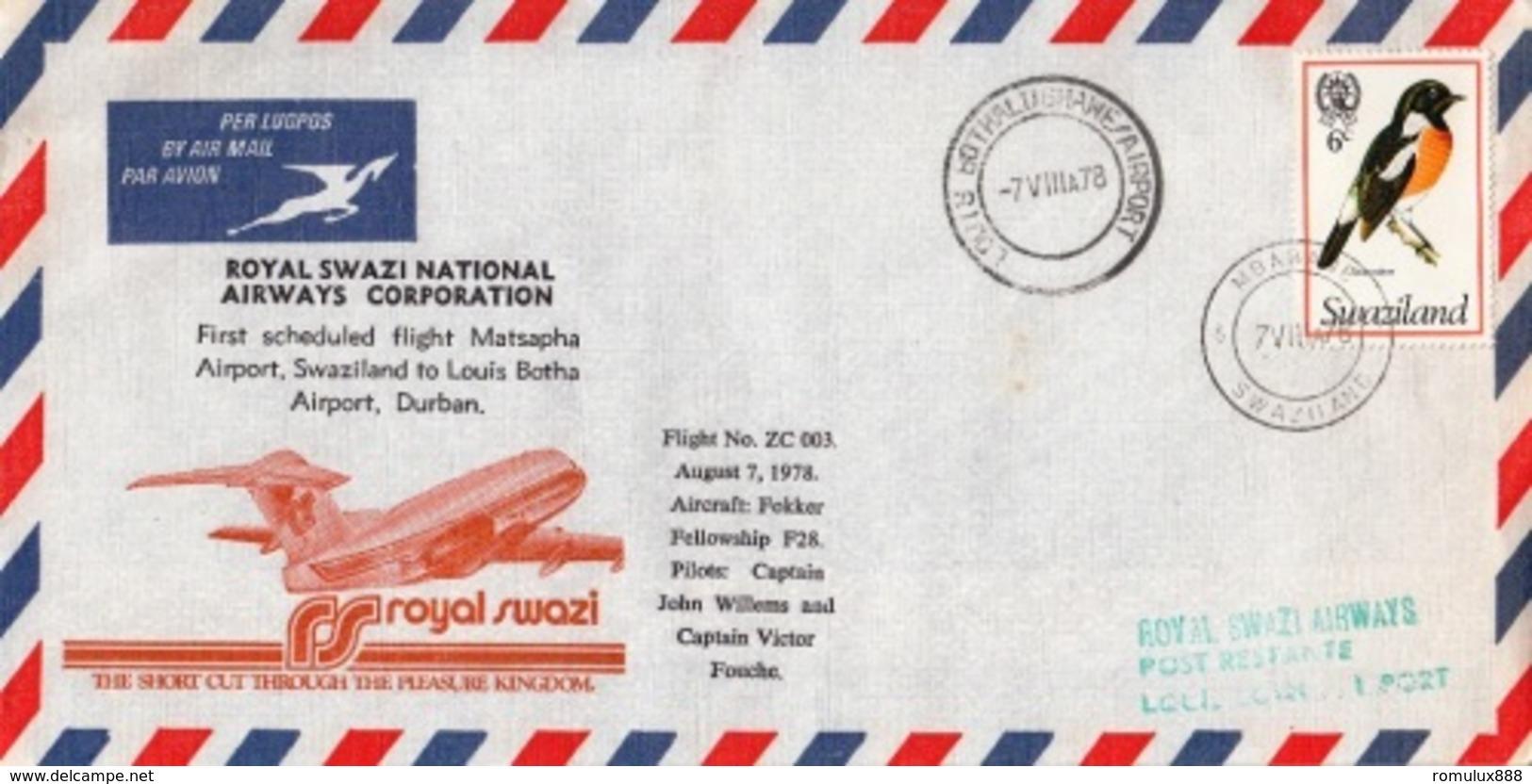 SWAZILAND FIRST FLIGHT COVER MATSAPHA TO DURBAN 1978 - Swaziland (1968-...)