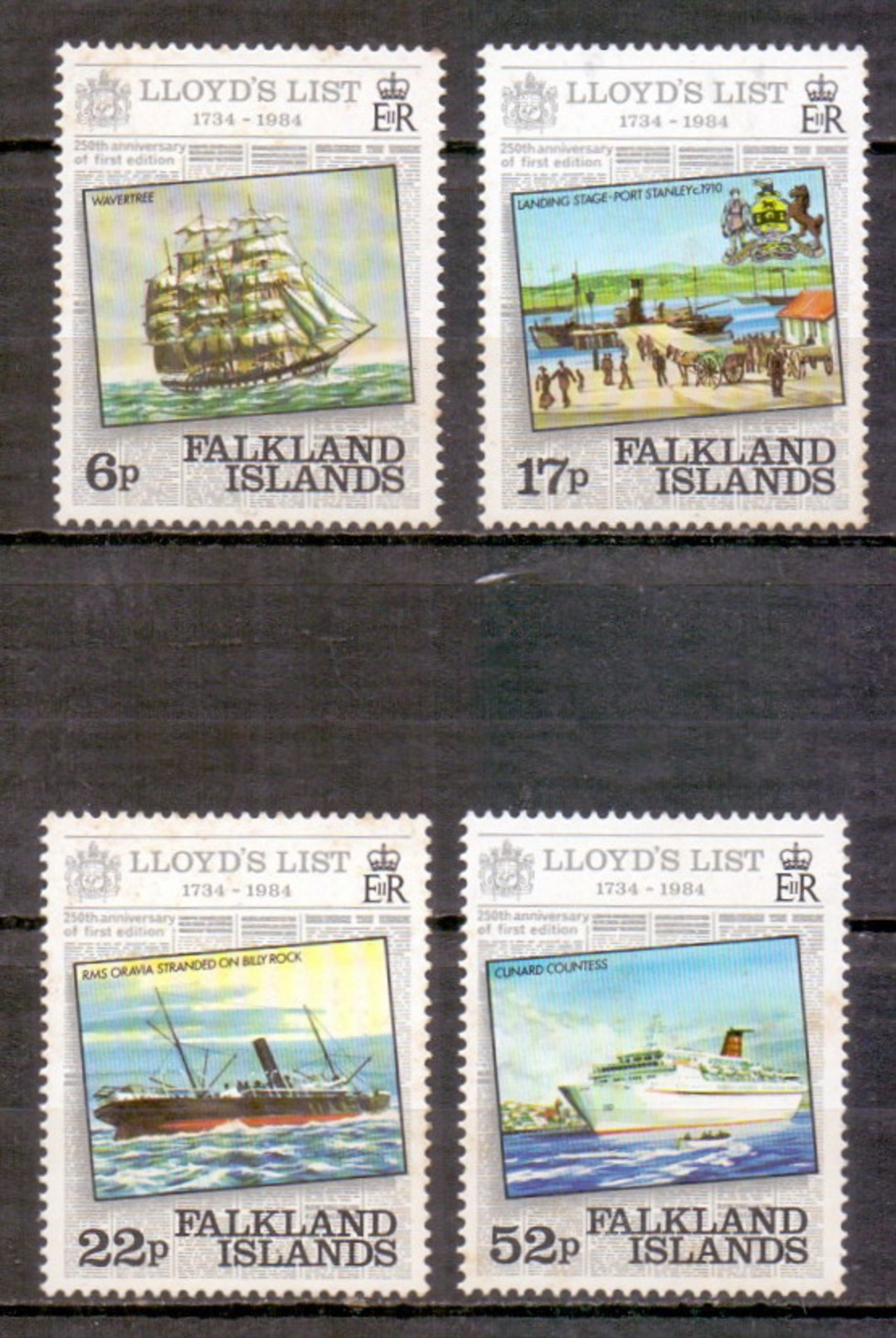 Falkland Islands 1984 250th Anniversary Of Lloyd's List Newspaper, Ship, Joint Issue (4v) MNH (M-336) - Falkland Islands