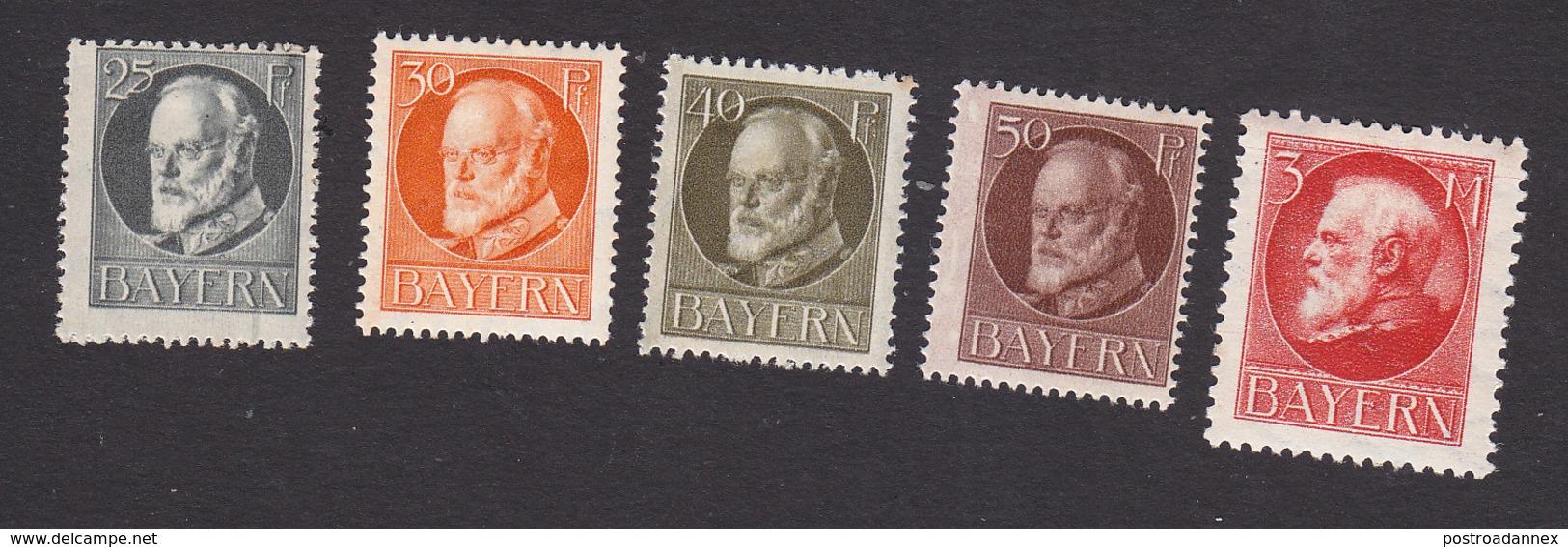 Bavaria, Scott #103-106, 111, Mint Hinged, King Ludwig III, Issued 1914 - Bavaria