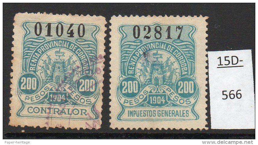 Argentina / Cordoba Province Revenue Fiscal Impuestos Generales 1904 200P Two Singles Used. - Argentine