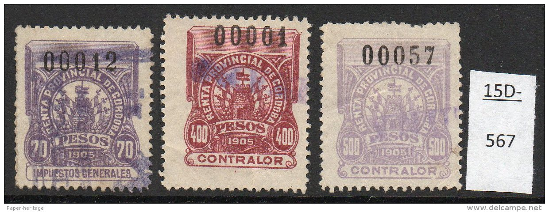 Argentina / Cordoba Province Revenue Fiscal Impuestos Generales 1905 70P, 400P, 500P Used. - Ohne Zuordnung