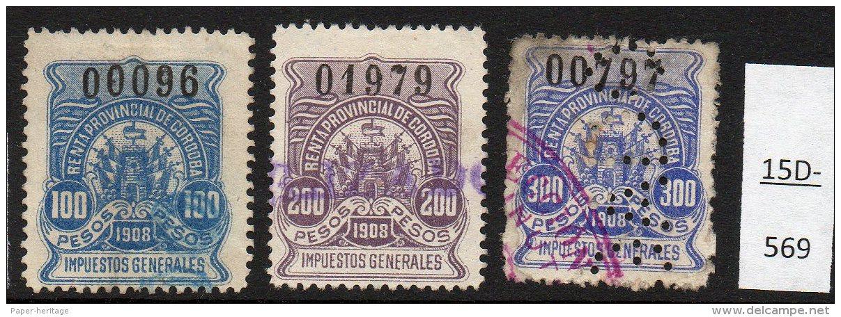 Argentina / Cordoba Province Revenue Fiscal Impuestos Generales 1908 100P, 200P, 300P Used. - Argentine