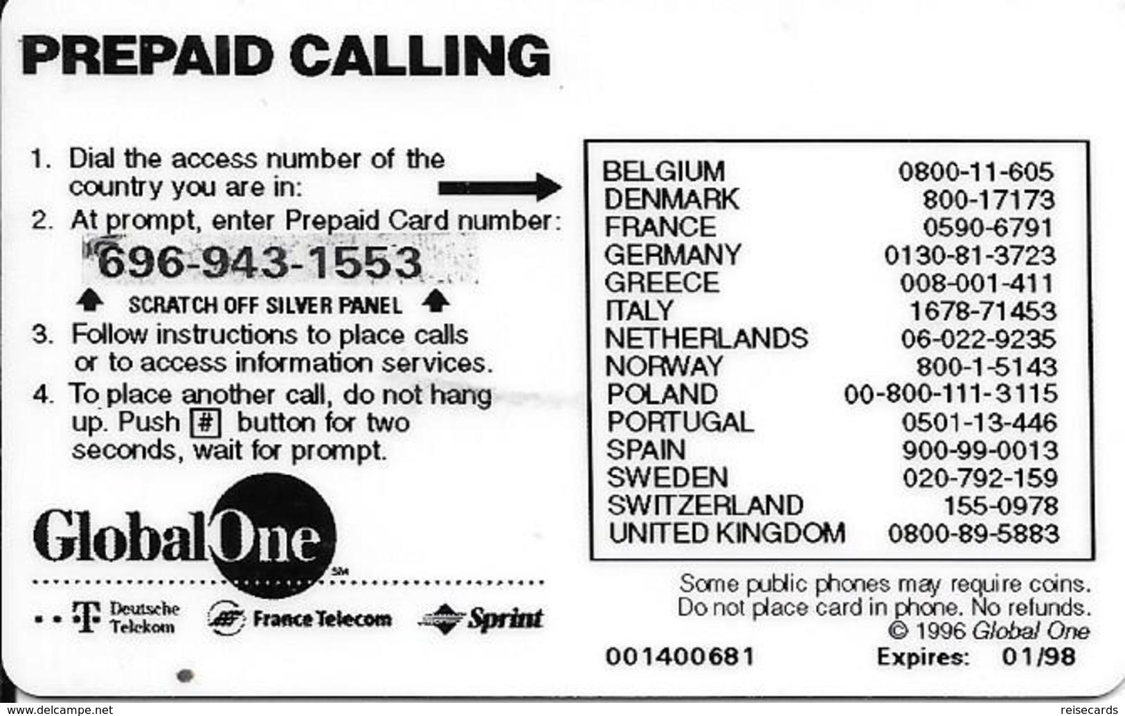 GlobalOne - Palmbeach 50 01.98 - Prepaid-Telefonkarten: Andere
