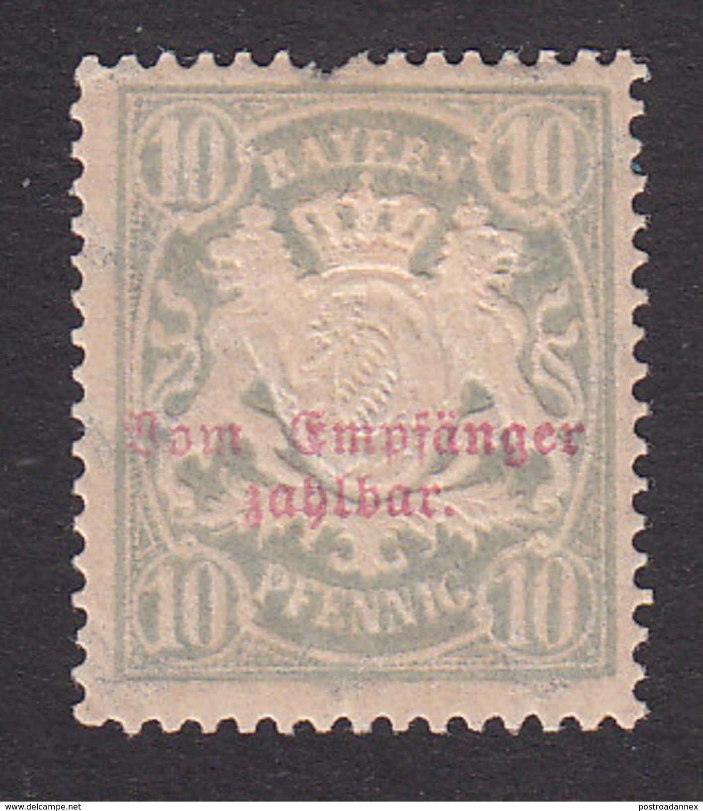 Bavaria, Scott #J13a, Mint Hinged, Coat Of Arms Overprinted, Issued 1895 - Bavaria