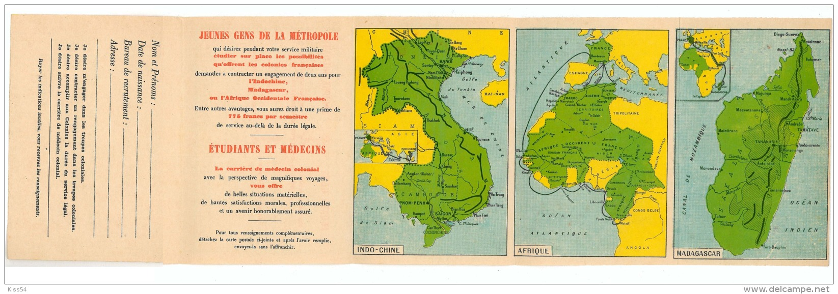 C 100 - ( 7421 ) Cambodia - Map, Temple, INDO-CHINE, Direction De Troupes Coloniales - Old Postcard - Unused - Cambodia