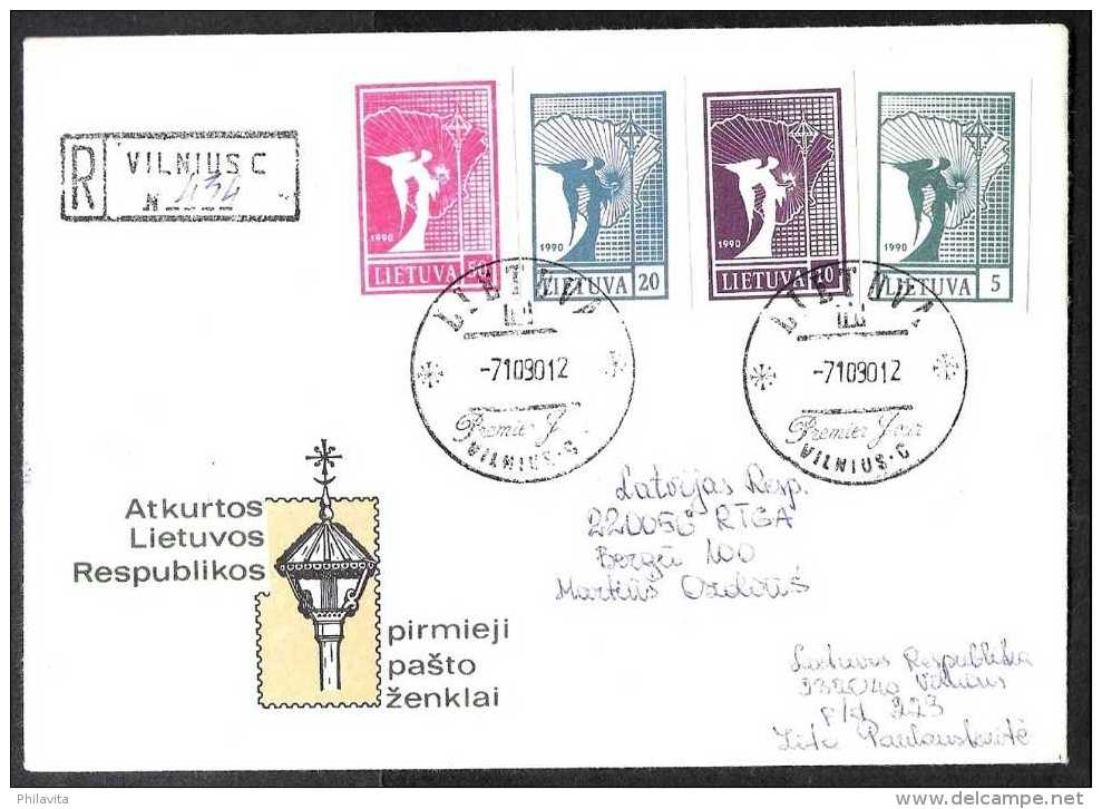1990 Lithuania / Litaeun - The First Lithuanian Stamps After USSR - Cover Run On Day Of Issue From Lithuania To Latvia - Lithuania
