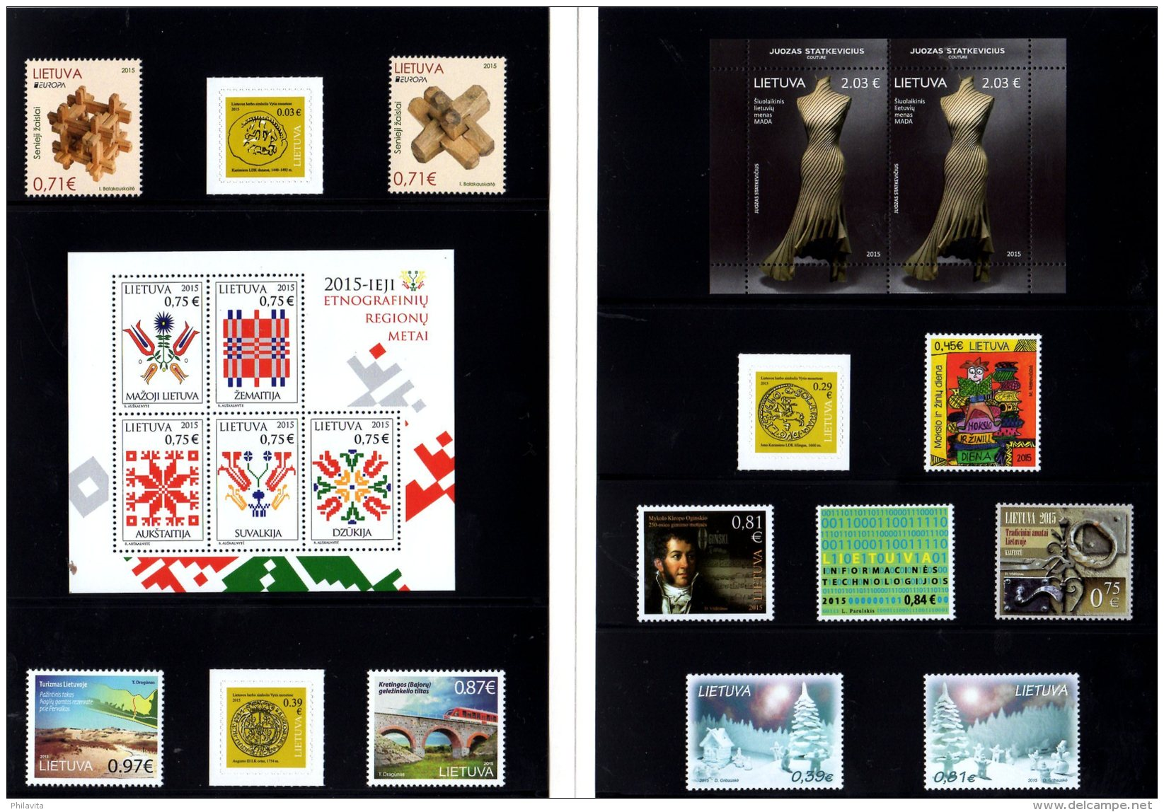 2015 Lithuania -Year Set In Folder - As Issued By Lithuanian Post First Year Of The Euro Values Only - Lithuania