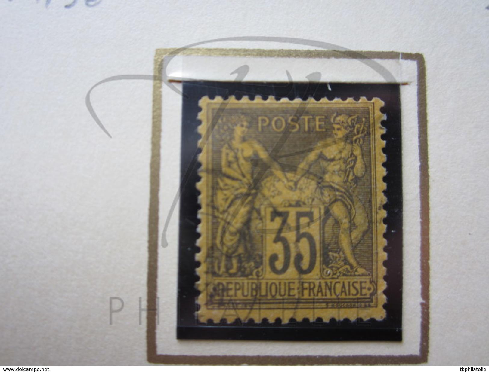 VEND TIMBRE DE FRANCE N° 93 , VIOLET NOIR SUR ORANGE !!!! - 1876-1898 Sage (Type II)