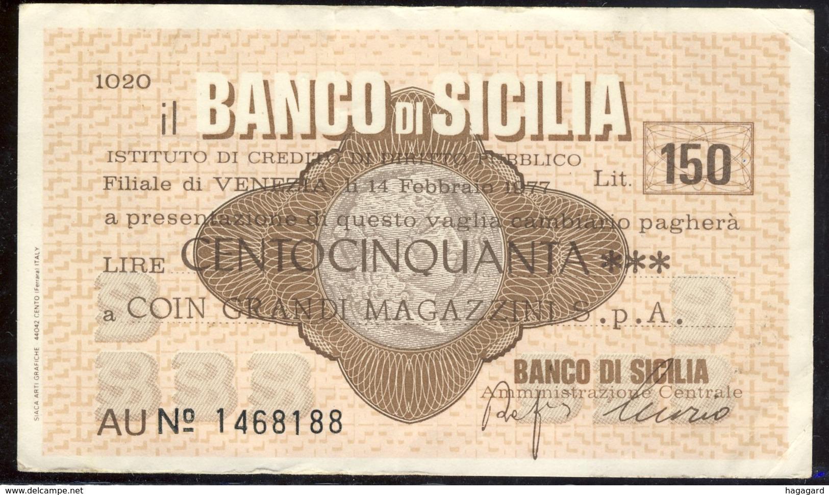 #A1862. Il Banco Di Sicilia 1977. 150 Lire Note Used. - Italie