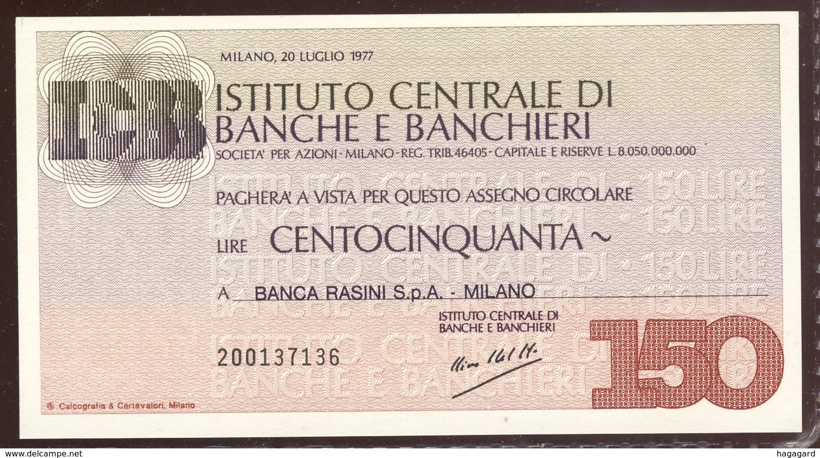 #A1864. Institutio Centrale Di Banche E Banchieri 1977. 150 Lire Note Unused. - Italie