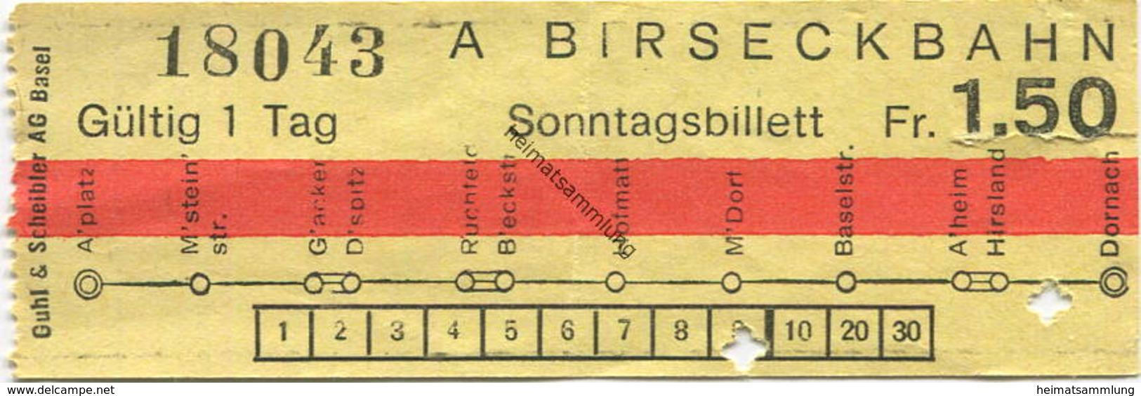 Schweiz - Birseckbahn - Sonntagsbillett - Fahrschein Fr. 1.50 - Wochen- U. Monatsausweise