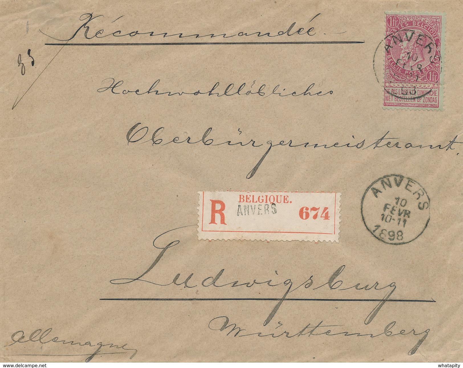 XX989 -- Lettre RECOMMANDEE TP Fine Barbe 1 Franc Carmin ANVERS 1898 Vers Allemagne - Très Frais - COB 250 EUR S/Lettre - 1893-1900 Thin Beard