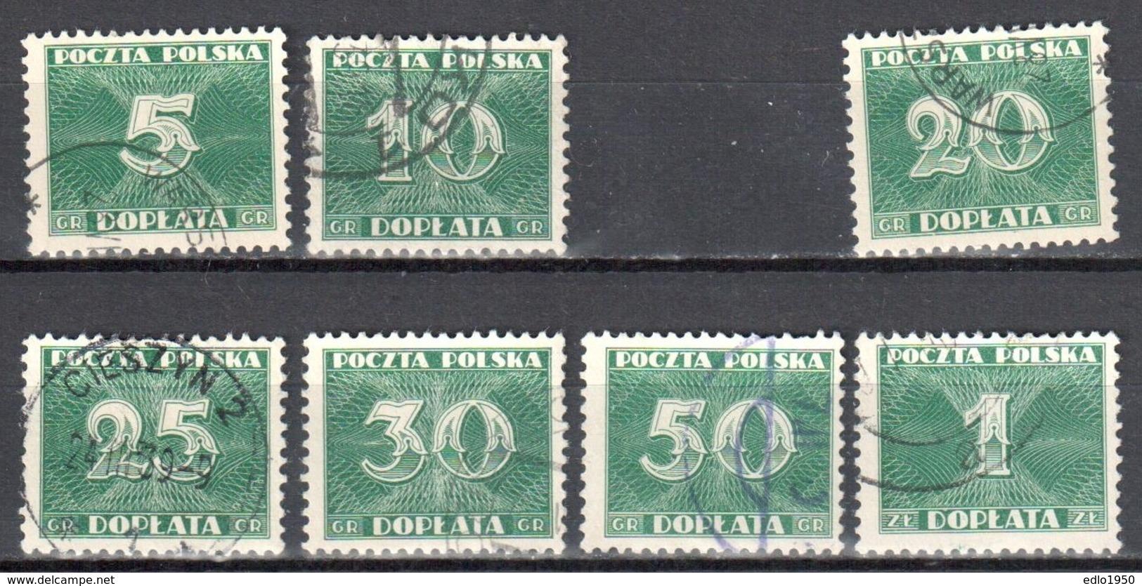 Poland 1938 - Postage Due - Mi.92,93,95-99 - 7v  - Used - Portomarken