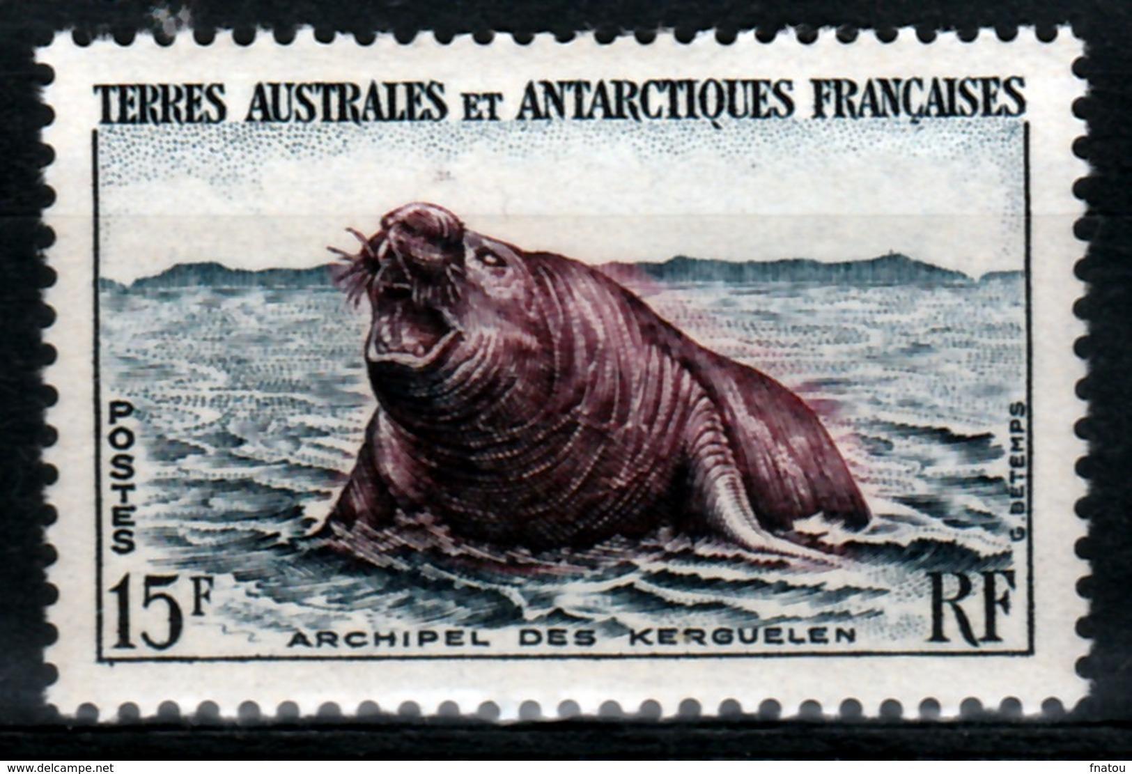 French Antarctic (FSAT), Elephant Seal, Kerguelen Islands, 15f, 1956, MNH VF - Unused Stamps