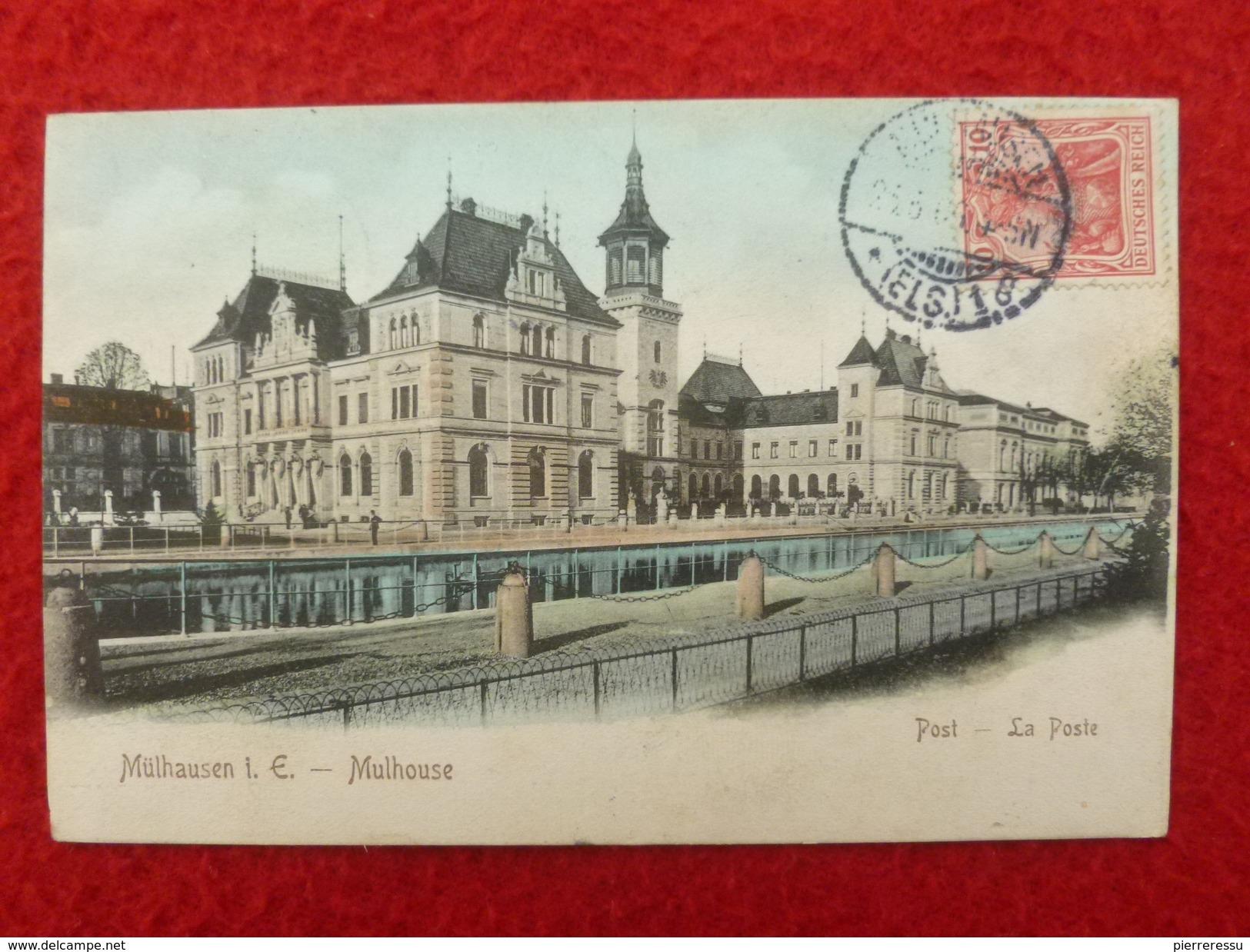 TIMBRE TAXE GRIFFE T AFFRANCHISSEMENT MIXTE SUR CPA MULHOUSE LA POSTE - 1877-1920: Période Semi Moderne