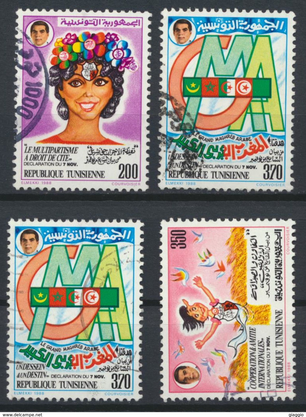 °°° TUNISIA - Y&T N°1102/4 - 1988 °°° - Tunisia