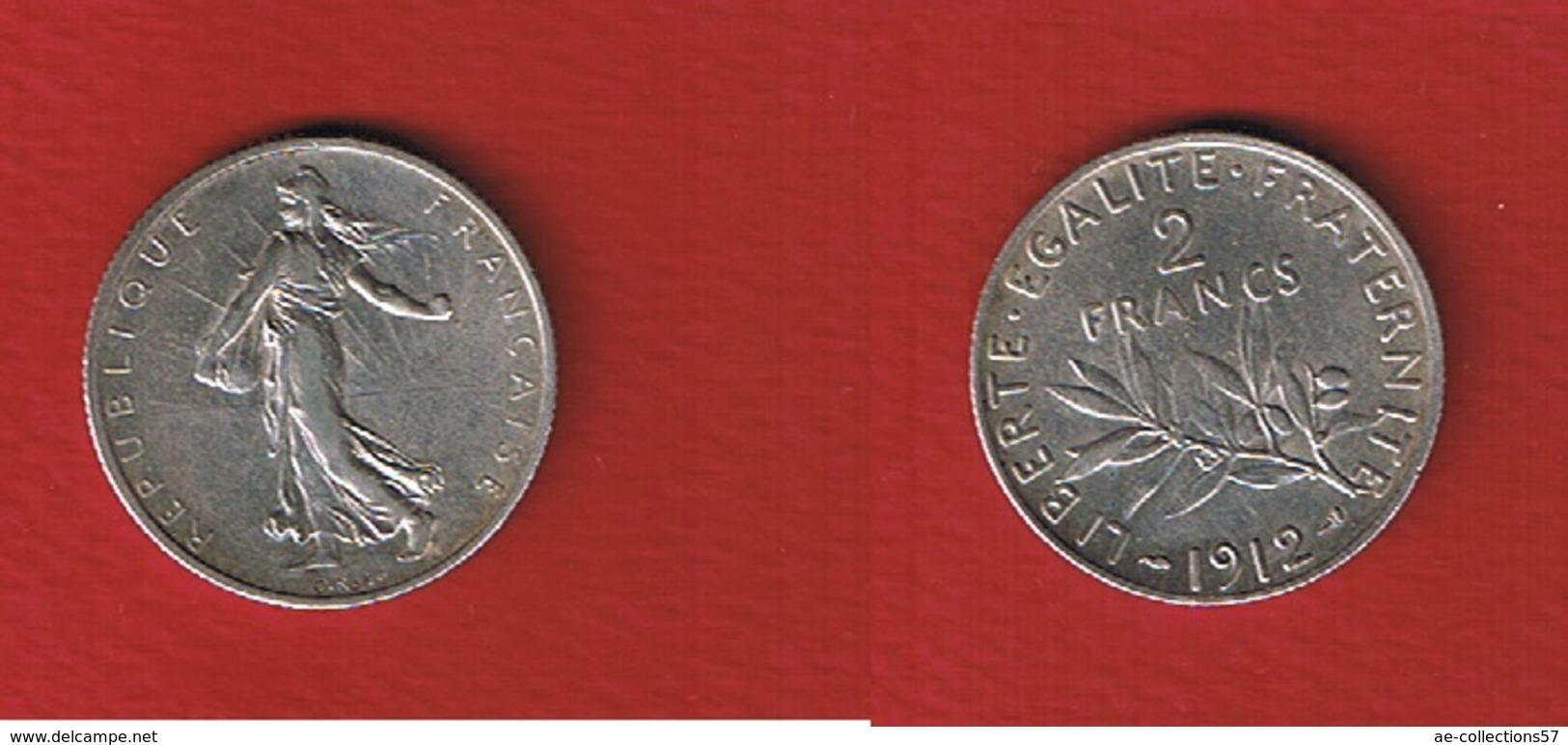 Semeuse  --  2 Francs 1912  -- état  TTB+ - France