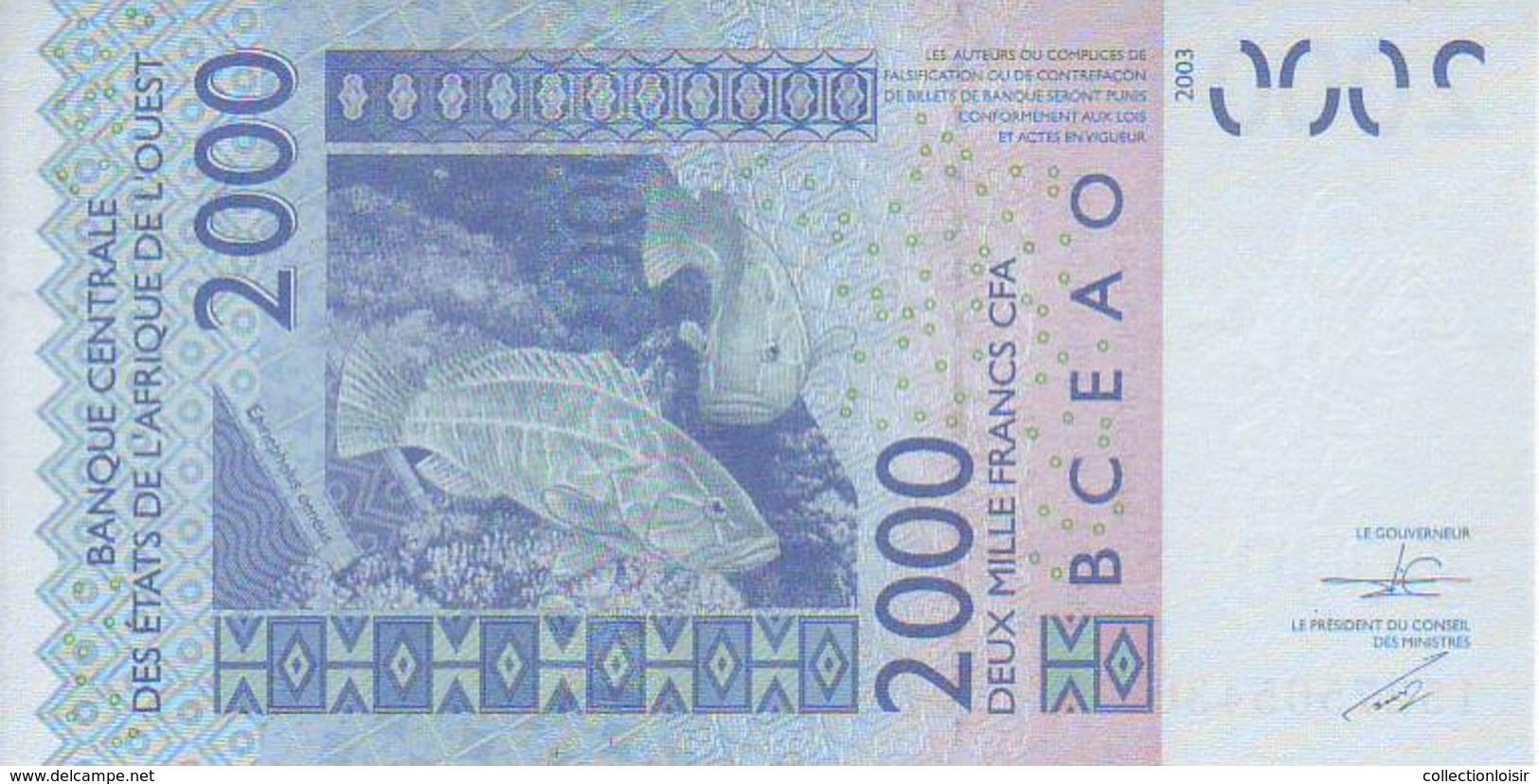 NEUF UNC !!!!  2.000  FRANCS  CFA  B.C.E.A.O 2015  LETTRE  A  (  COTE  D´ IVOIRE  ) - Côte D'Ivoire