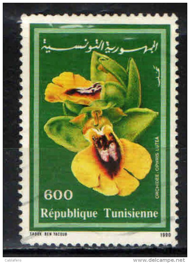 TUNISIA - 1990 -FLORA: OPHRIS LUTEA - USATO - Tunisia (1956-...)