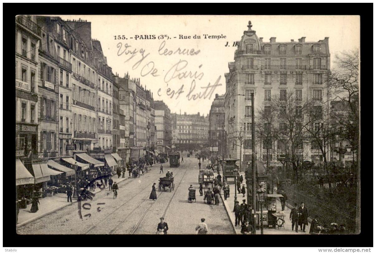 75 - PARIS 3EME - RUE DU TEMPLE - EDITEUR J.H. - Paris (03)
