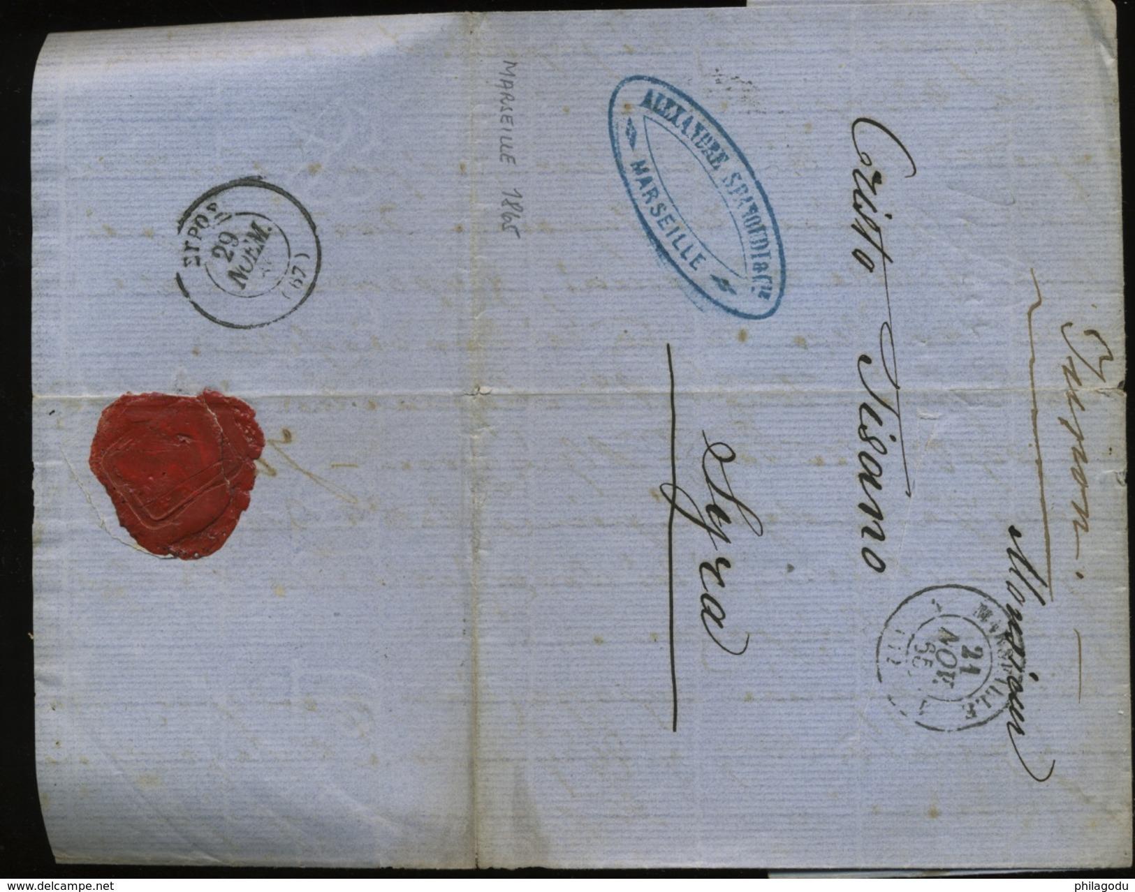 1865  Lettre De Marseille  Vers Syra    Cachet De Passage Ou Arrivée GREC - Marcophilie (Lettres)