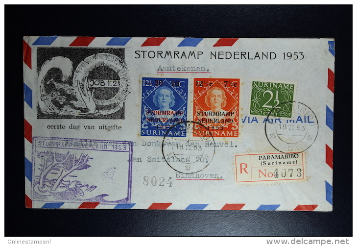 Suriname : Cover Stormramp 1953  Registered To Eindhoven - Suriname ... - 1975