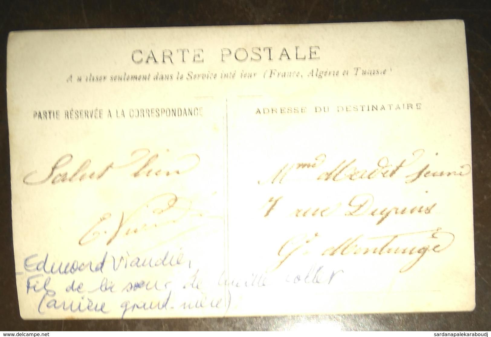 Carte-Photo 2 FORTS Des HALLES De Paris, Vers 1920, L'un Ayant Travaillé à La SCIERIE De Montrouge. 1 Nommé Au Dos. - Halles