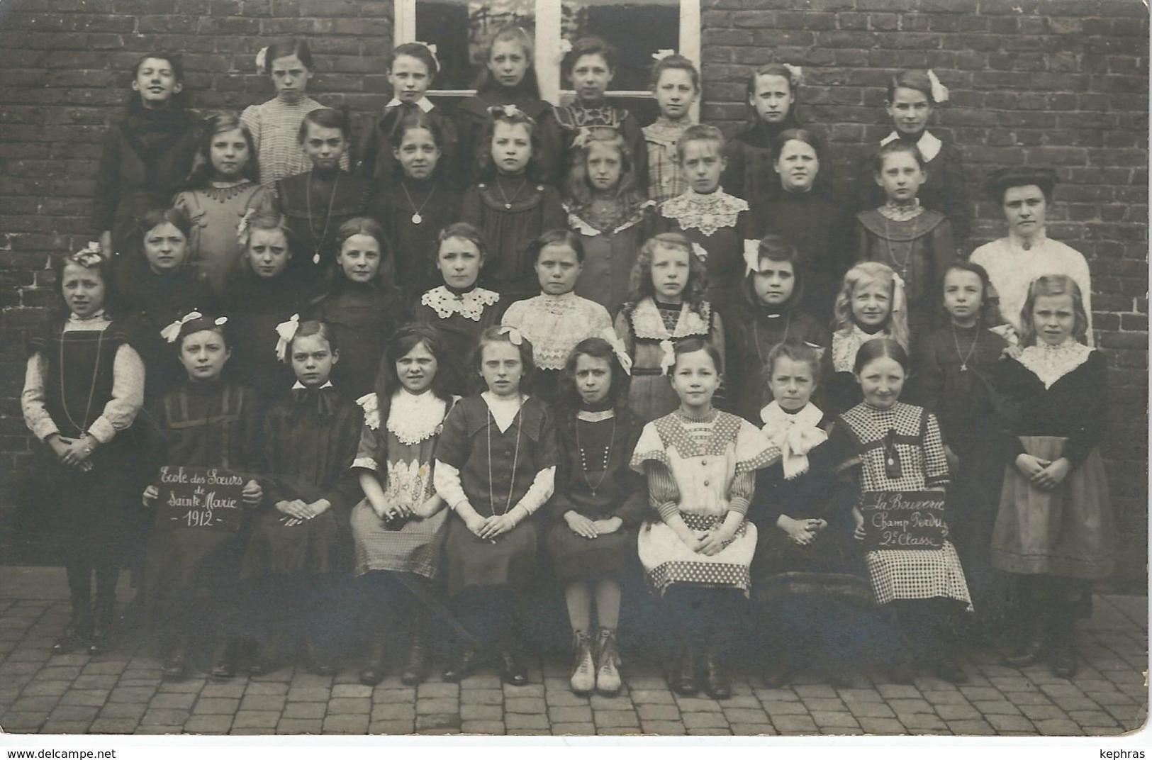 LA BOUVERIE - CHAMP PERDU : SUPERBE PHOTO - Ecole Des Soeurs De Sainte-Marie - 1912 - Frameries