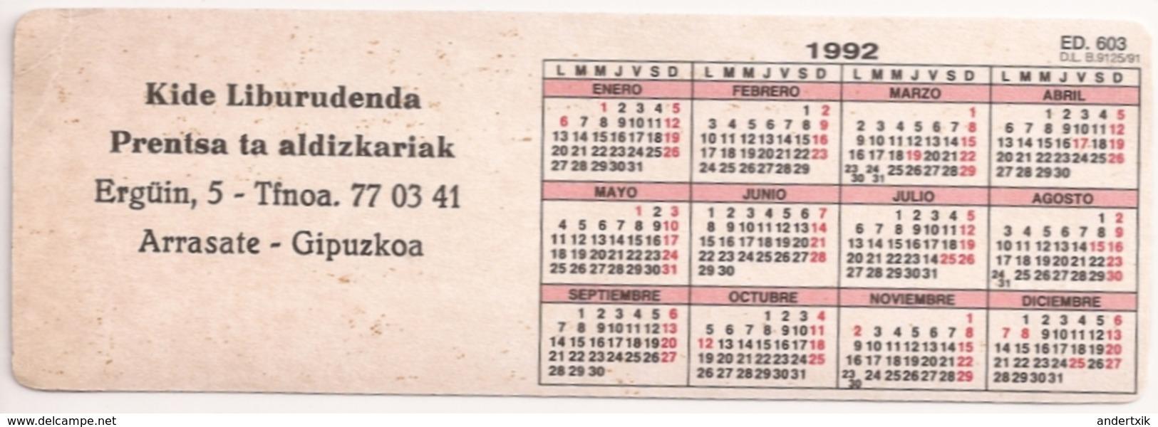 Calendario De Bolsillo, 1992, Alargado, SKI - Tamaño Pequeño : 1991-00
