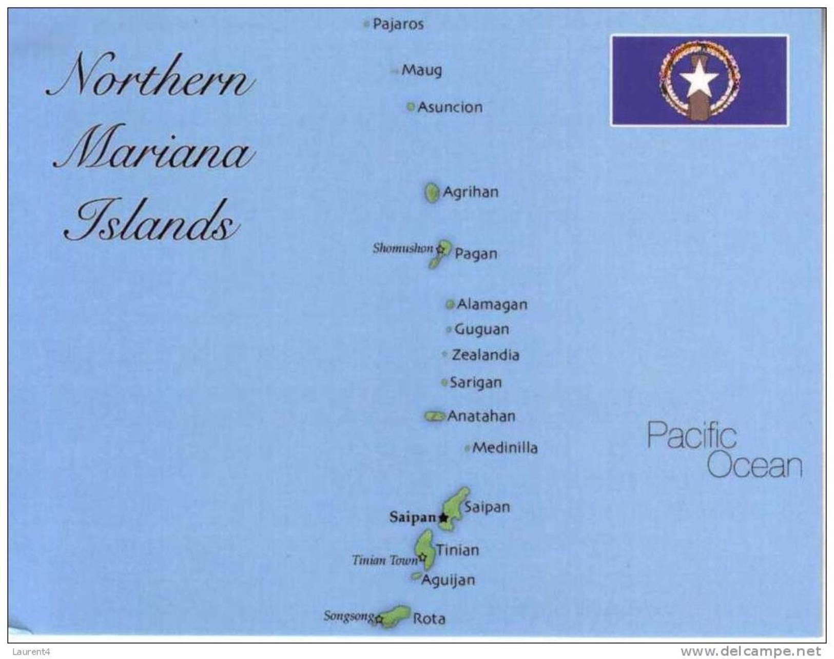 Map & Flag Of Northern Mariana Islands - Carte Des Iles De Nord Mariannes - Marianen