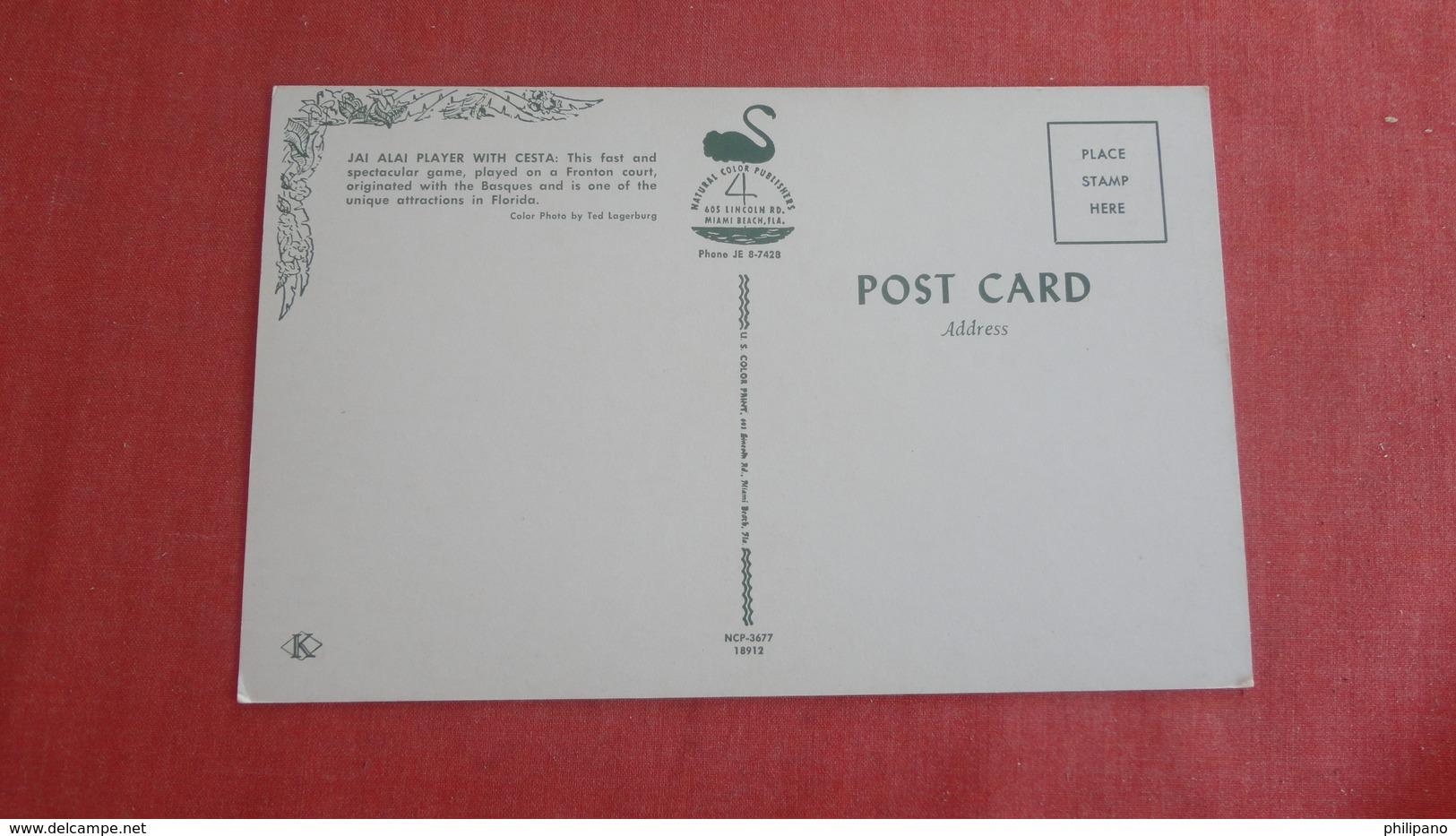 Jai Alai Player With Cesta = Ref 2529 - Cartes Postales
