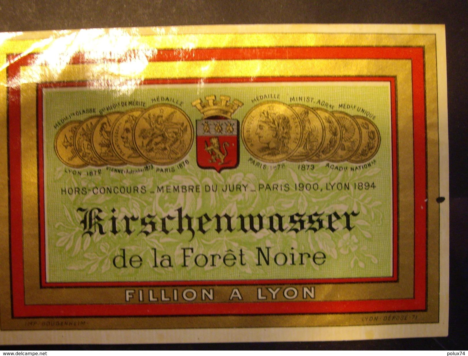 LYON  KIRSCHENWASSER  De La Foret Noire  -FILLION A LYON Année  1905+- - Autres Bouteilles