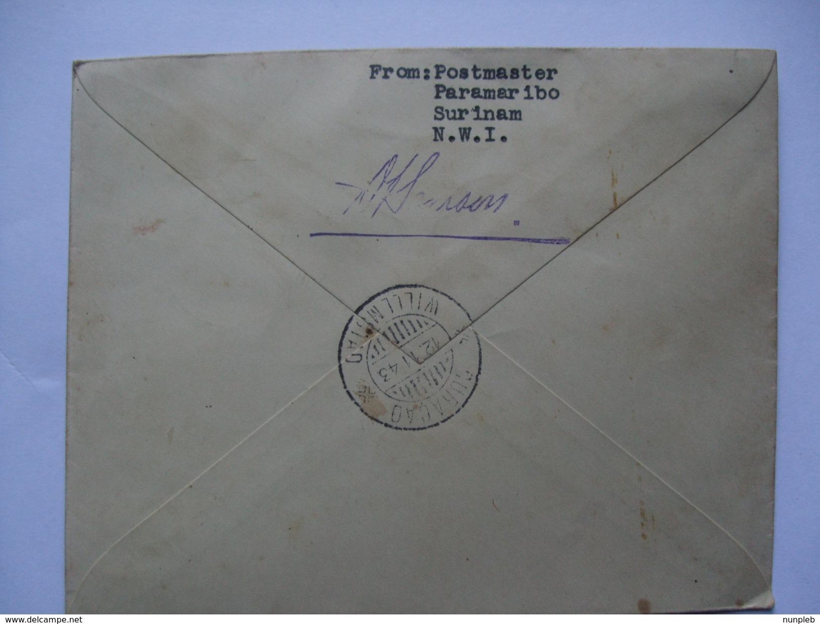 SURINAM 1943 FDC - Royal Baby Issue - Censor Mark - Registered Paramaribo - Willmstad - Signed By Postmaster - Surinam ... - 1975