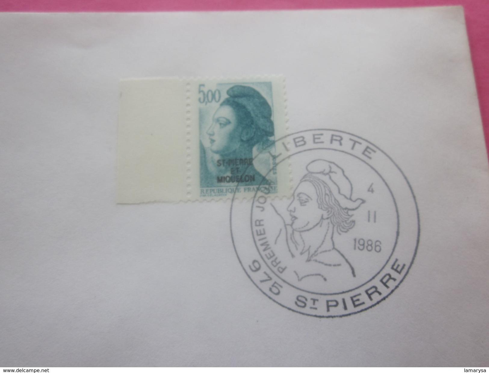 St.Pierre Et Miquelon 1986-1989 Lettre Av Timbre Collection Marianne Liberté Surchargés Av Cachets 1er Jour - Lettres & Documents