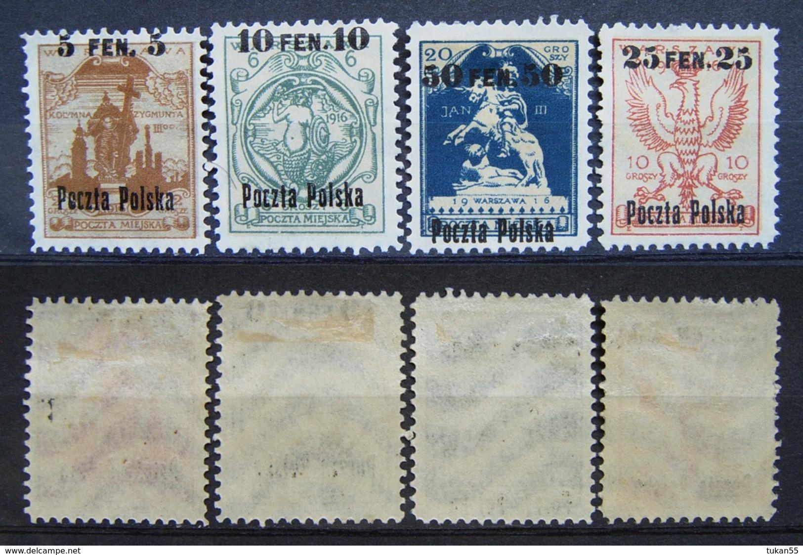 Polen Stadt Post Warschau 1916 Mi.Nr.2 - 5 * Ungebraucht     (B140) - Ungebraucht