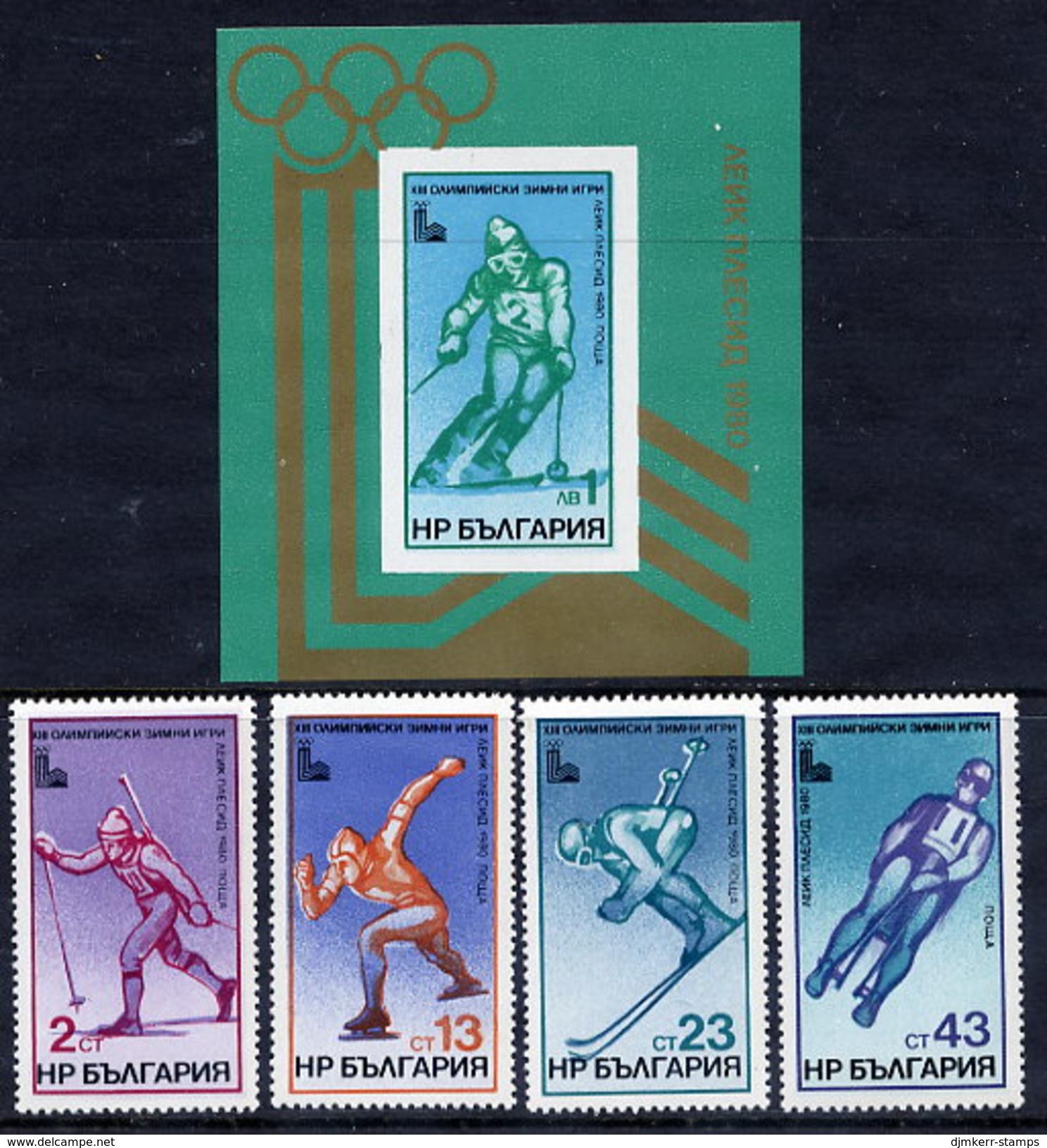 BULGARIA 1979 Winter Olympic Games, Lake Placed: Set And  Block MNH / **.  Michel 2824-27 + Block 94 - Bulgaria