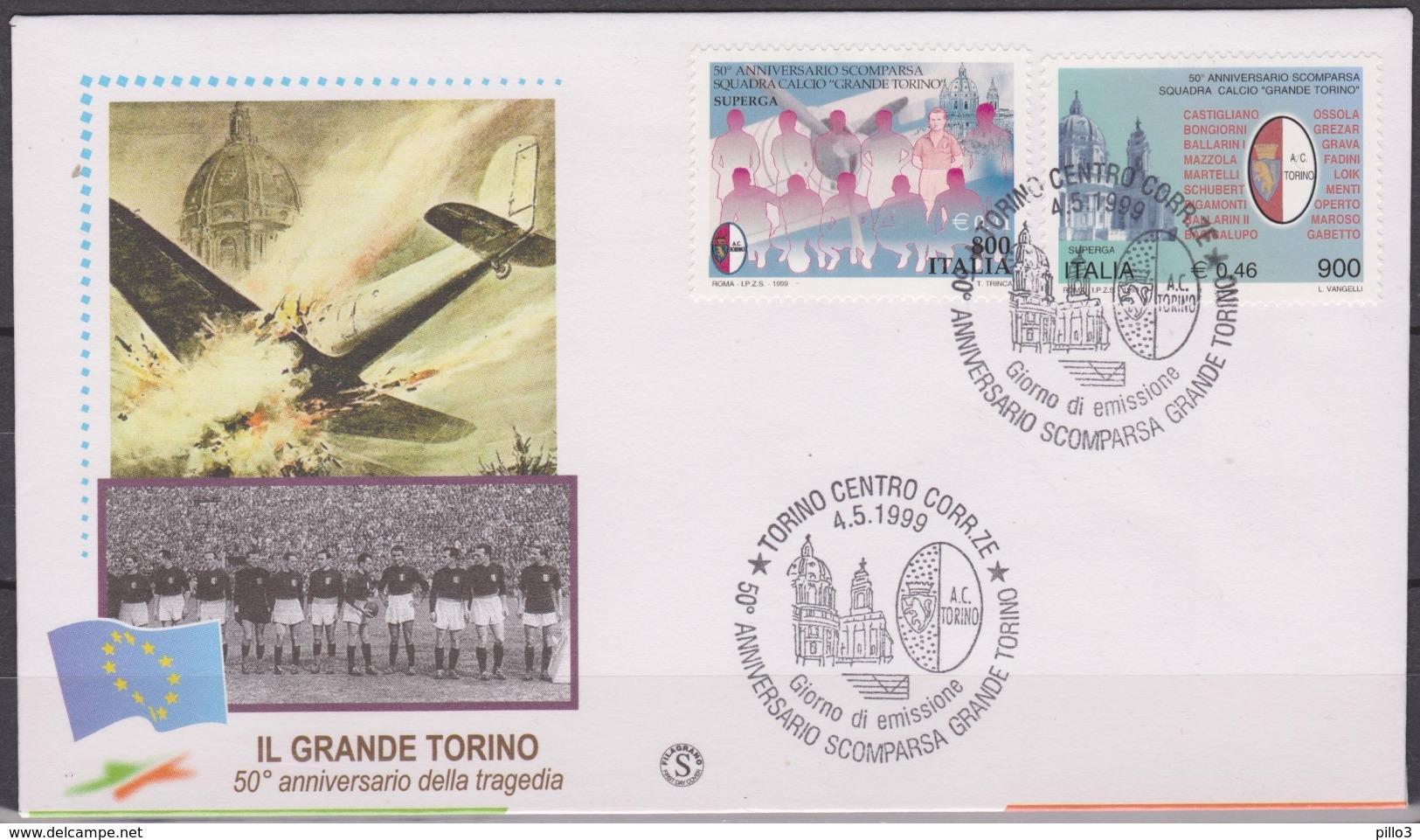 ITALIA : FDC 50° Scomparsa Della Squadra Del Grande Torino A Superga  - Annullo Da Torino Del  4.05.1999 - FDC