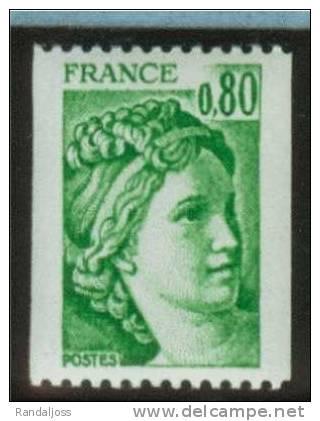 Sabine Roulette N° 1980**_0.80F Vert - 1977-81 Sabina Di Gandon