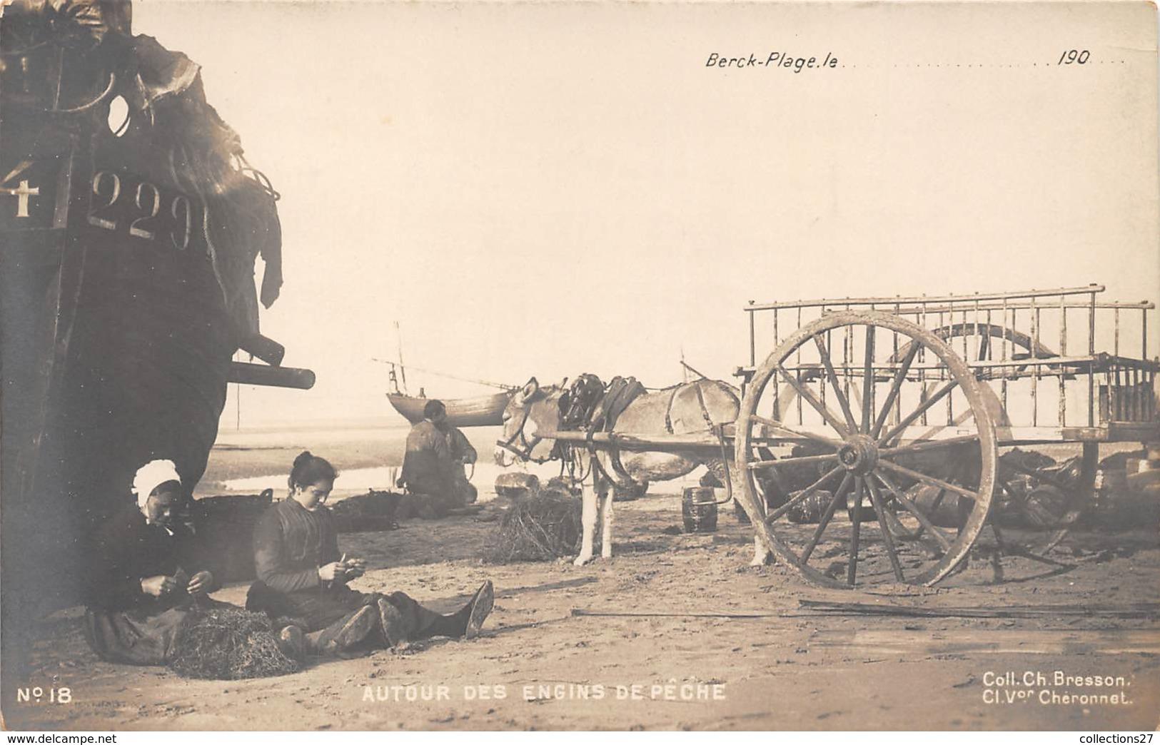 62-BERCK-PLAGE - CARTE PHOTO- AUTOUR DES ENGINS DE PÊCHE - Berck