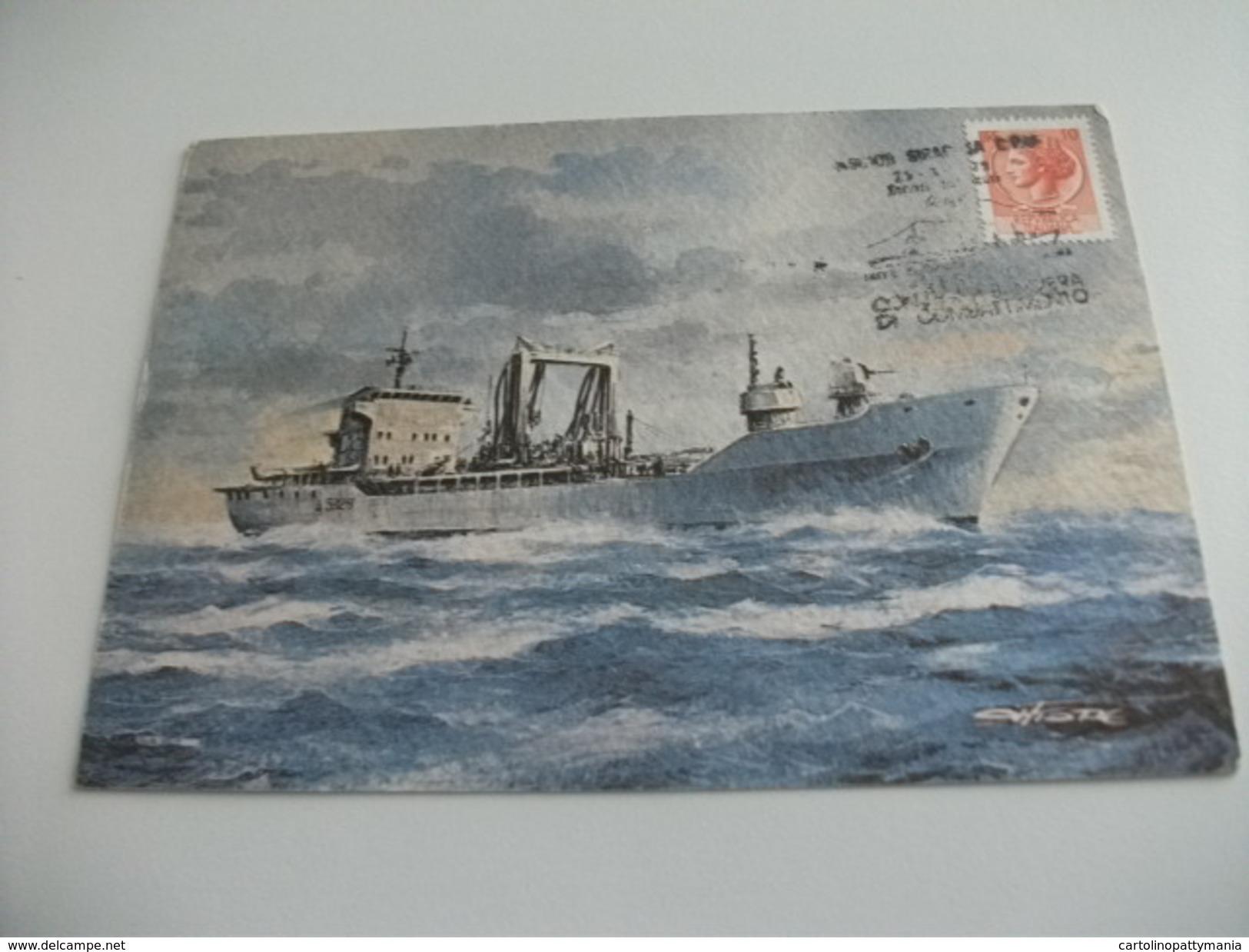 Nave Ship RIFORNITRICE DI SQUADRA VESUVIO RETRO FRANCOBOLLI NAVI ANNULLO VESUVIO ILLUSTRATORE VEDI FIRMA - Guerra