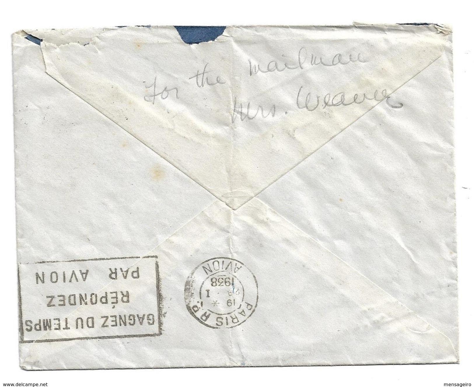 (C05) - Y&T N°311 X2+284A - LETTRE AVION PARIS => USA 1938 + 3 TP TAXE US - France