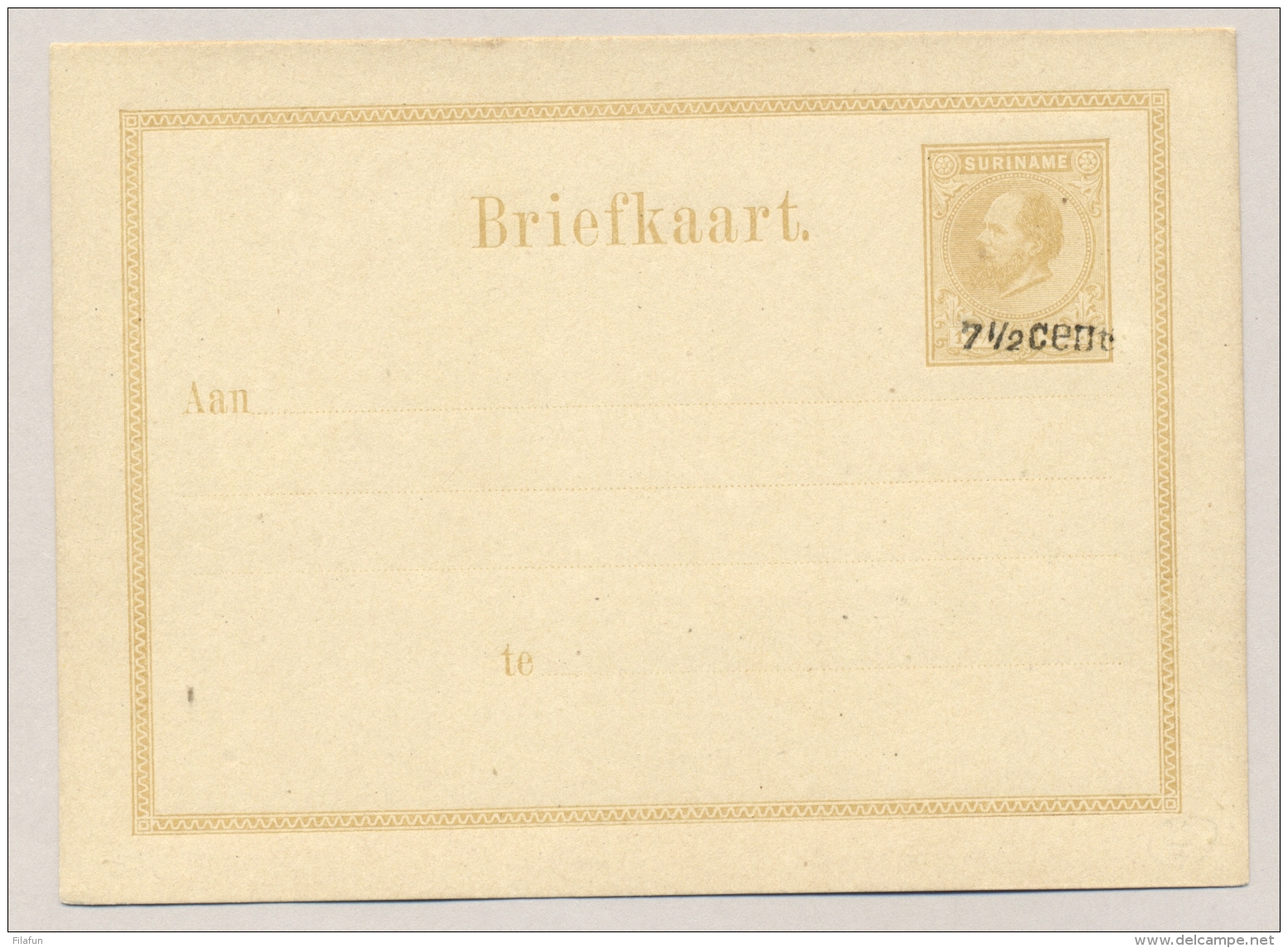 Suriname - 1879 - 7,5 Cent Opdruk Op 12,5 Cent Willem III, Briefkaart G5a, Ongebruikt / Unused - Suriname ... - 1975