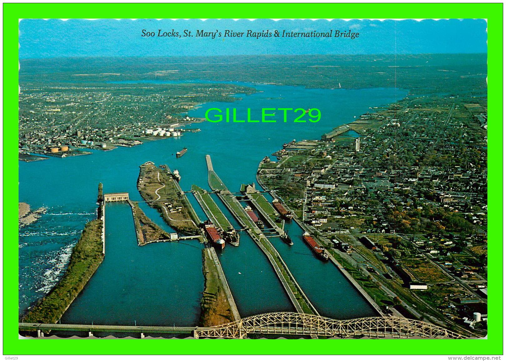 SAULT STE MARIE, ONTARIO - LOCKS ST MARY'S RIVER RAPIDS & THE INTERNATIONAL BRIDGE - SUPERIOR SOUVENIR WHOLESALE LTD - Ontario