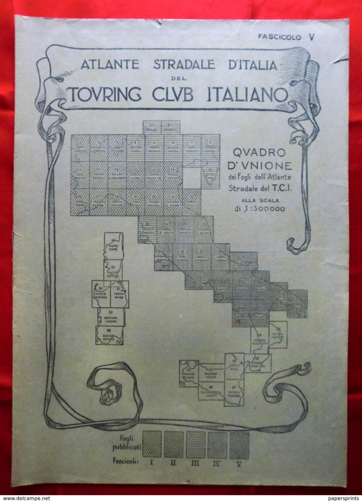 Fascicolo V (senza Fogli All'interno) ATLANTE STRADALE D'ITALIA Touring Club Italiano 1923-26 (Dir. L. V. Bertarelli) - Carte Stradali